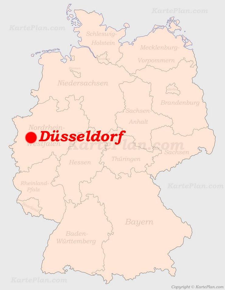 Düsseldorf auf der Deutschlandkarte