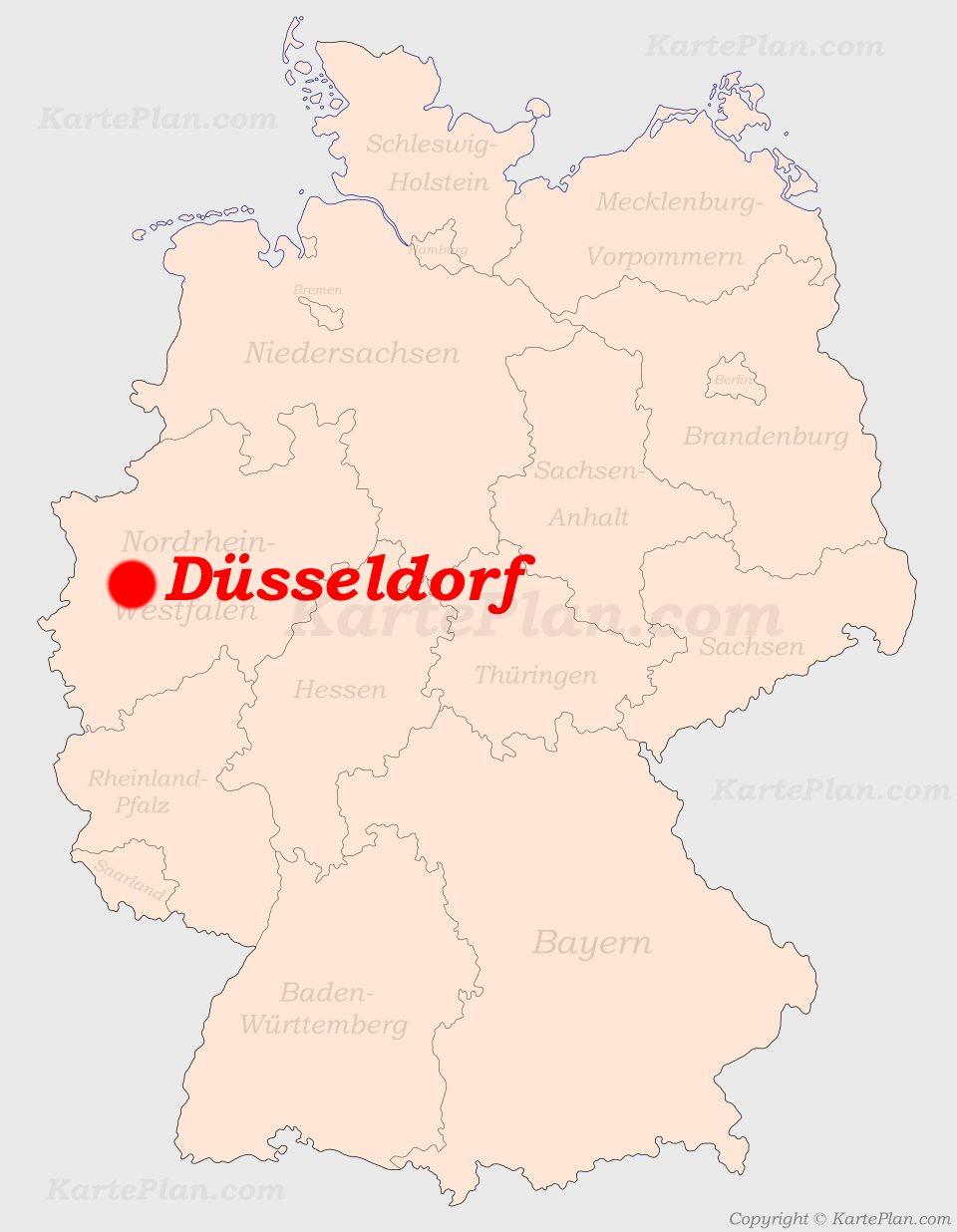 Düsseldorf Karte.Düsseldorf Auf Der Deutschlandkarte