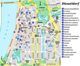 Düsseldorf Innenstadtplan mit sehenswürdigkeiten