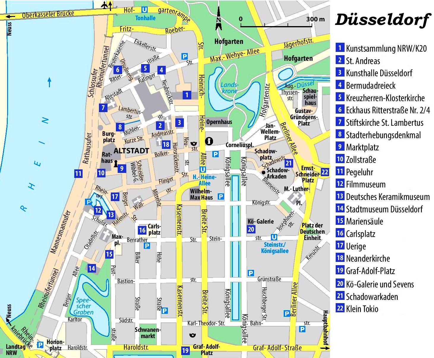 düsseldorf sehenswürdigkeiten karte Düsseldorf Innenstadtplan mit sehenswürdigkeiten