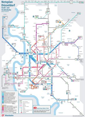 Düsseldorf Straßenbahn und Stadtbahnnetz plan
