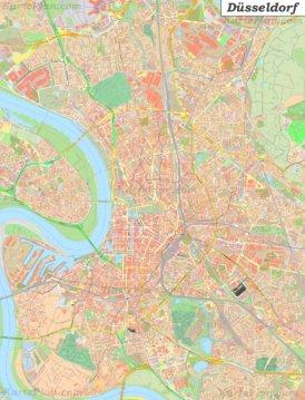 Große detaillierte stadtplan von Düsseldorf