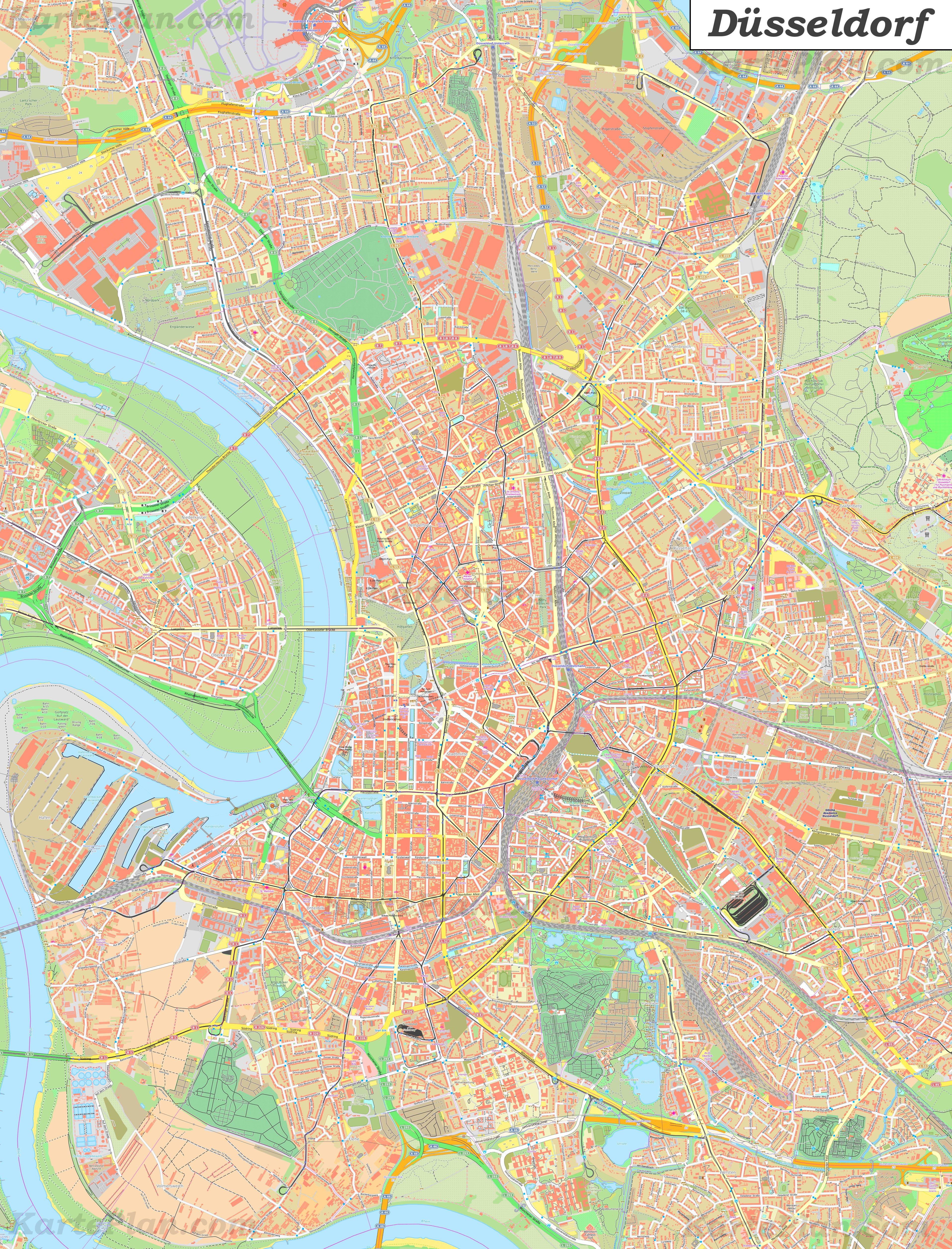 Grosse Detaillierte Stadtplan Von Dusseldorf