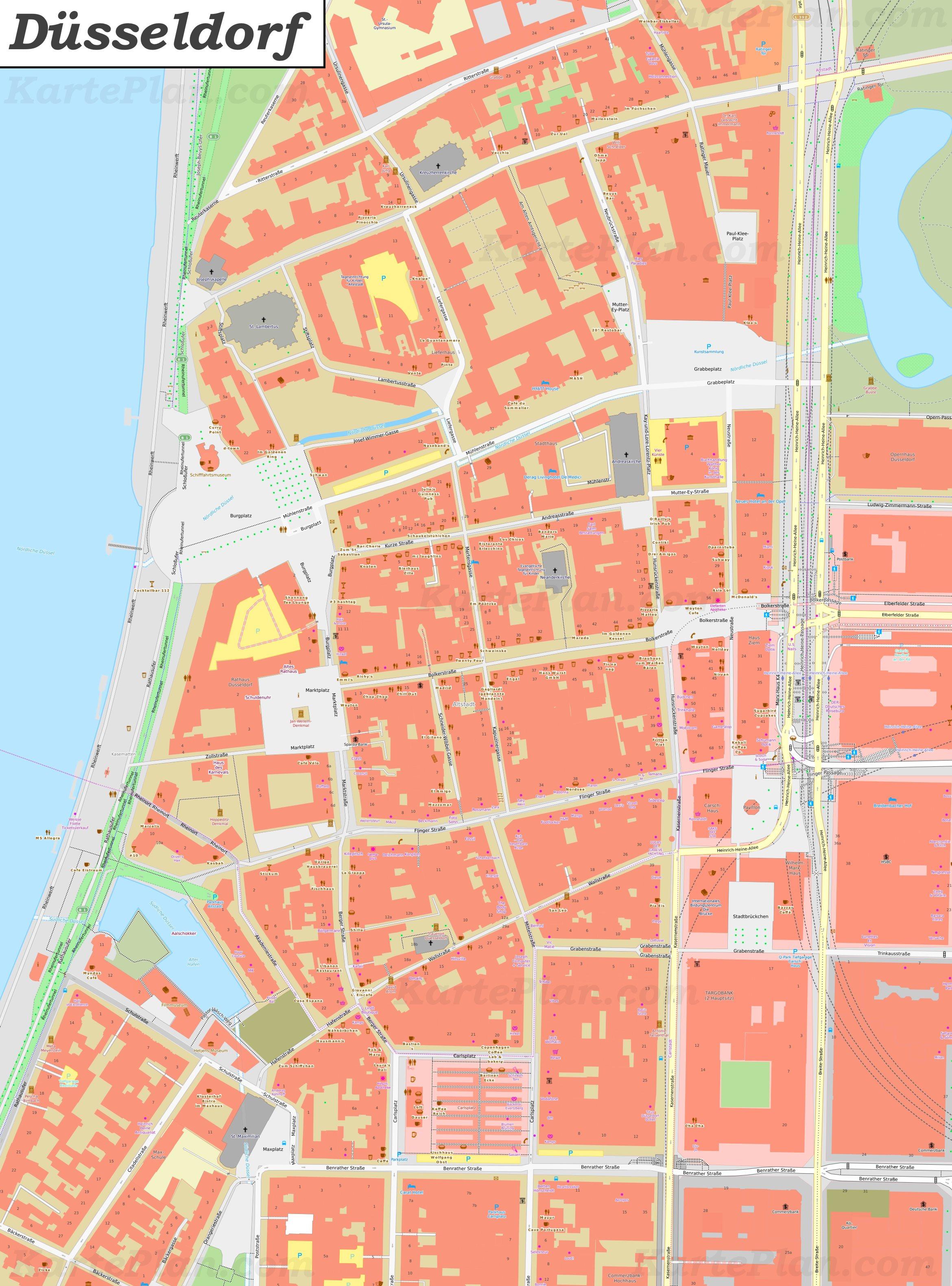 Düsseldorf Karte.Karte Von Düsseldorfer Altstadt