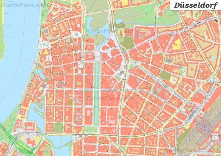 Karte von Düsseldorfs Zentrum