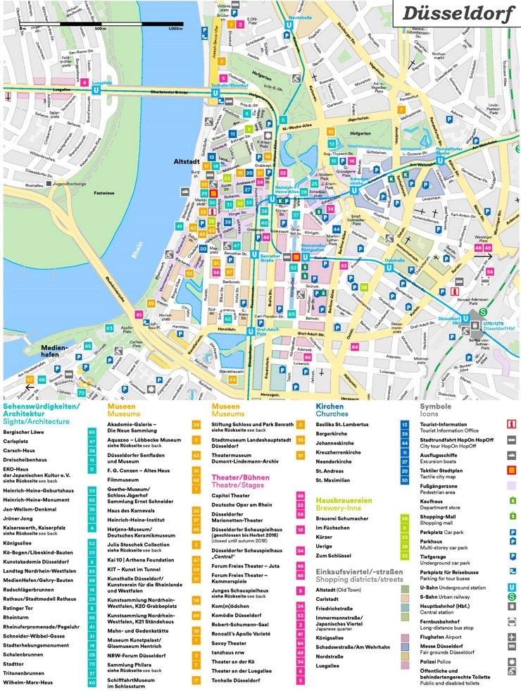 Touristischer stadtplan von Düsseldorf