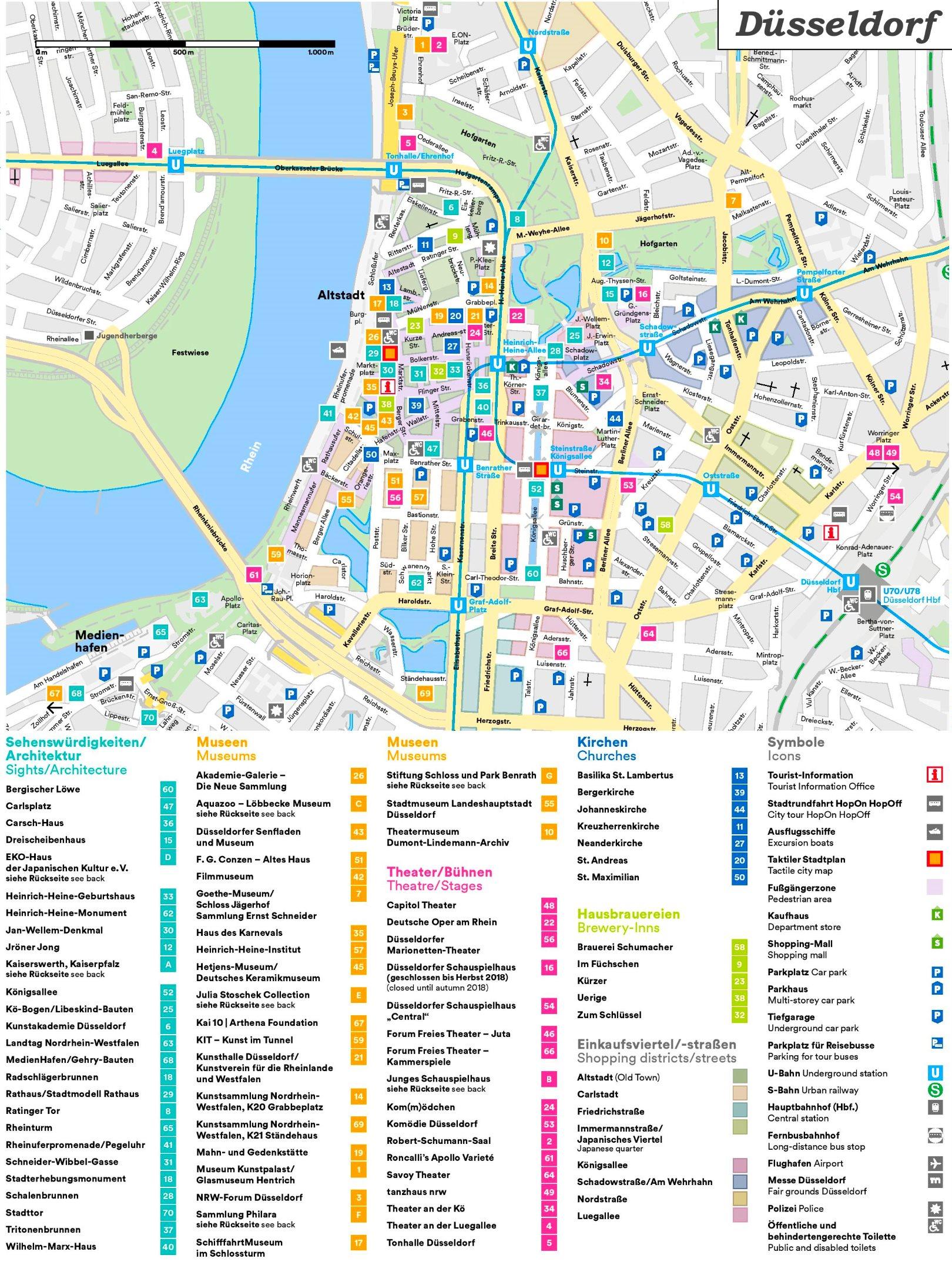 düsseldorf sehenswürdigkeiten karte Touristischer stadtplan von Düsseldorf