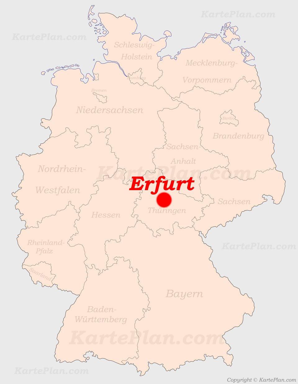 erfurt landkarte deutschland Erfurt auf der Deutschlandkarte