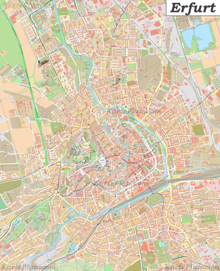 Große detaillierte stadtplan von Erfurt