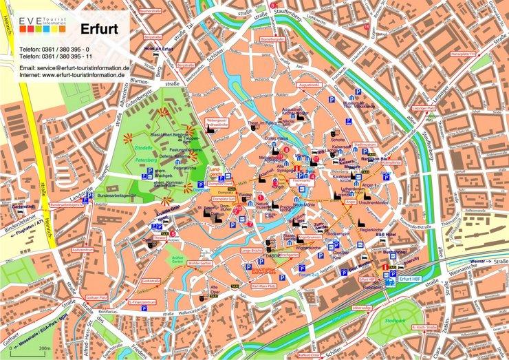Stadtplan Erfurt mit sehenswürdigkeiten
