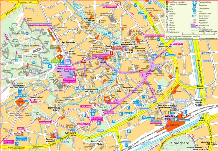 Touristischer stadtplan von Erfurt