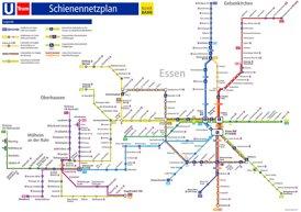 Essen Straßenbahn, S-Bahn und U-Bahn plan