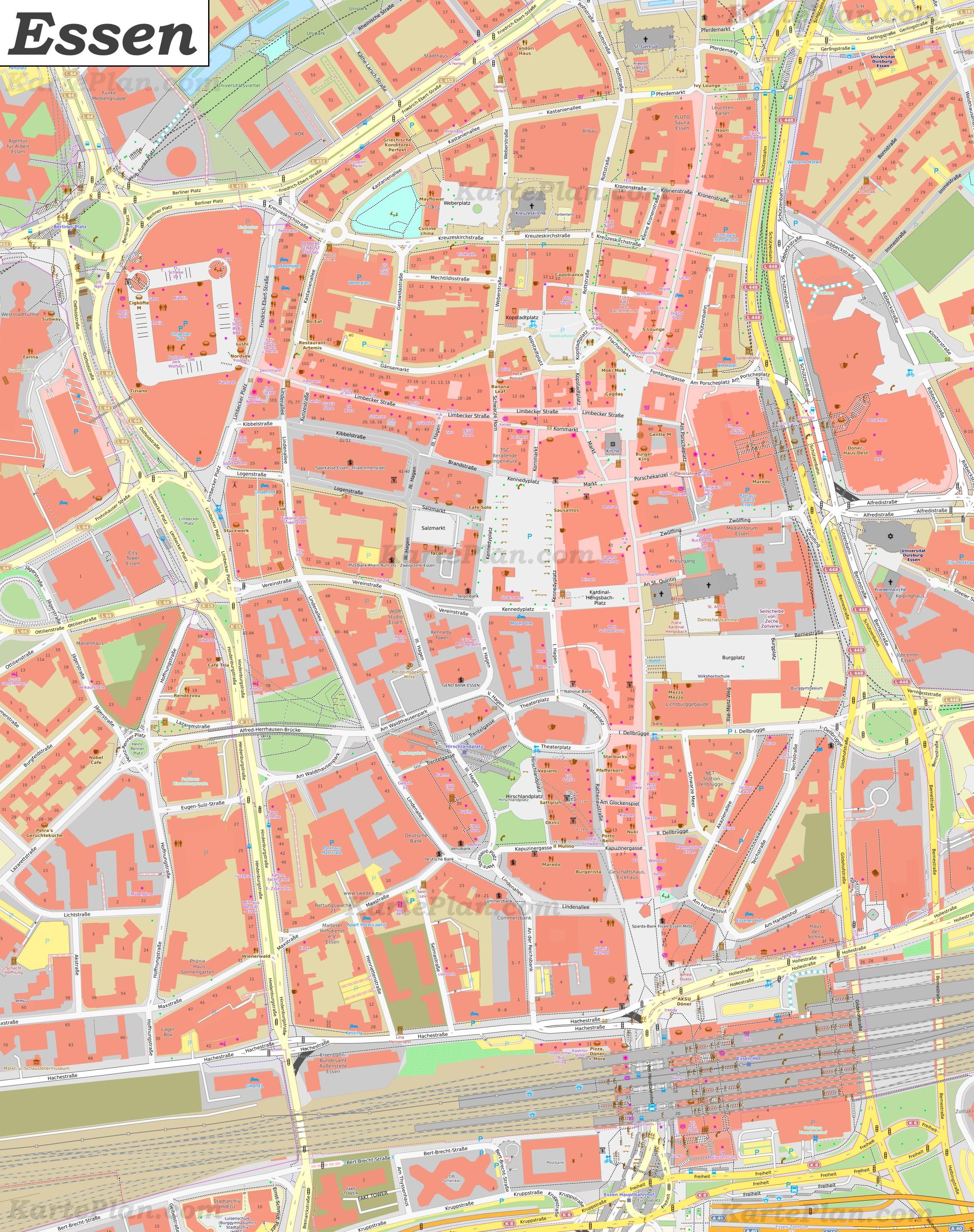Stadt Essen Karte.Karte Von Essens Zentrum