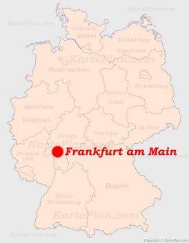 Frankfurt am Main auf der Deutschlandkarte