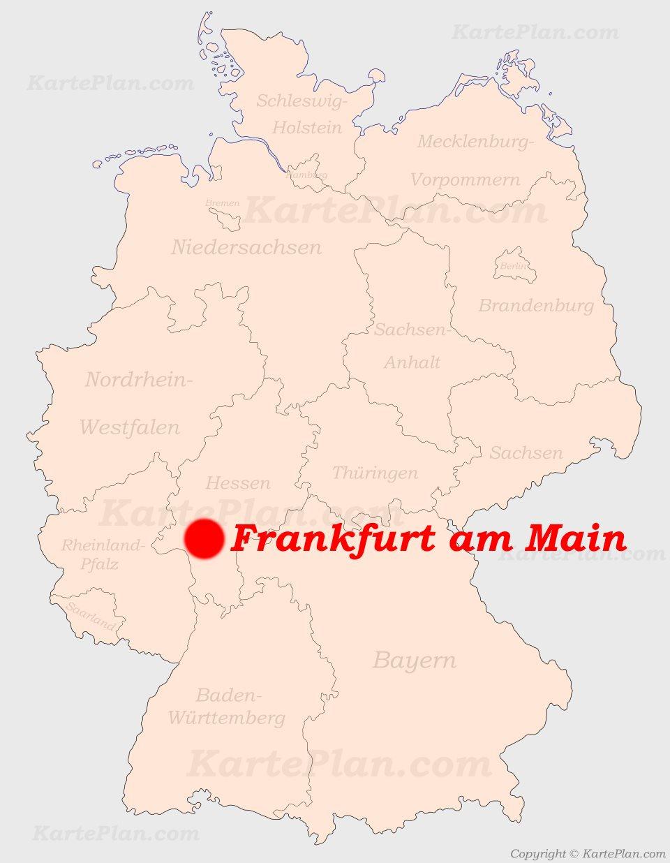 deutschland karte frankfurt am main Frankfurt am Main auf der Deutschlandkarte