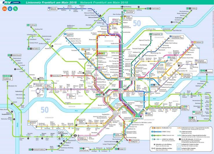 Frankfurt am Main Straßenbahn, S-Bahn und U-Bahn plan