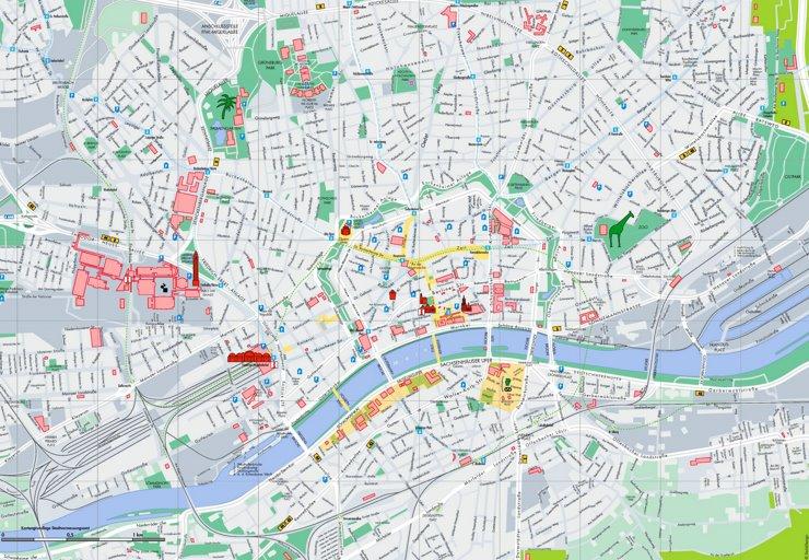 Touristischer stadtplan von Frankfurt am Main