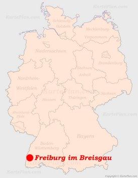 Freiburg im Breisgau auf der Deutschlandkarte