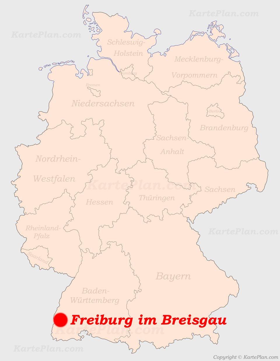 Freiburg Karte.Freiburg Im Breisgau Auf Der Deutschlandkarte
