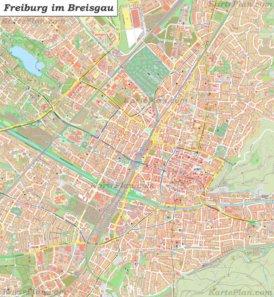 Große detaillierte stadtplan von Freiburg im Breisgau