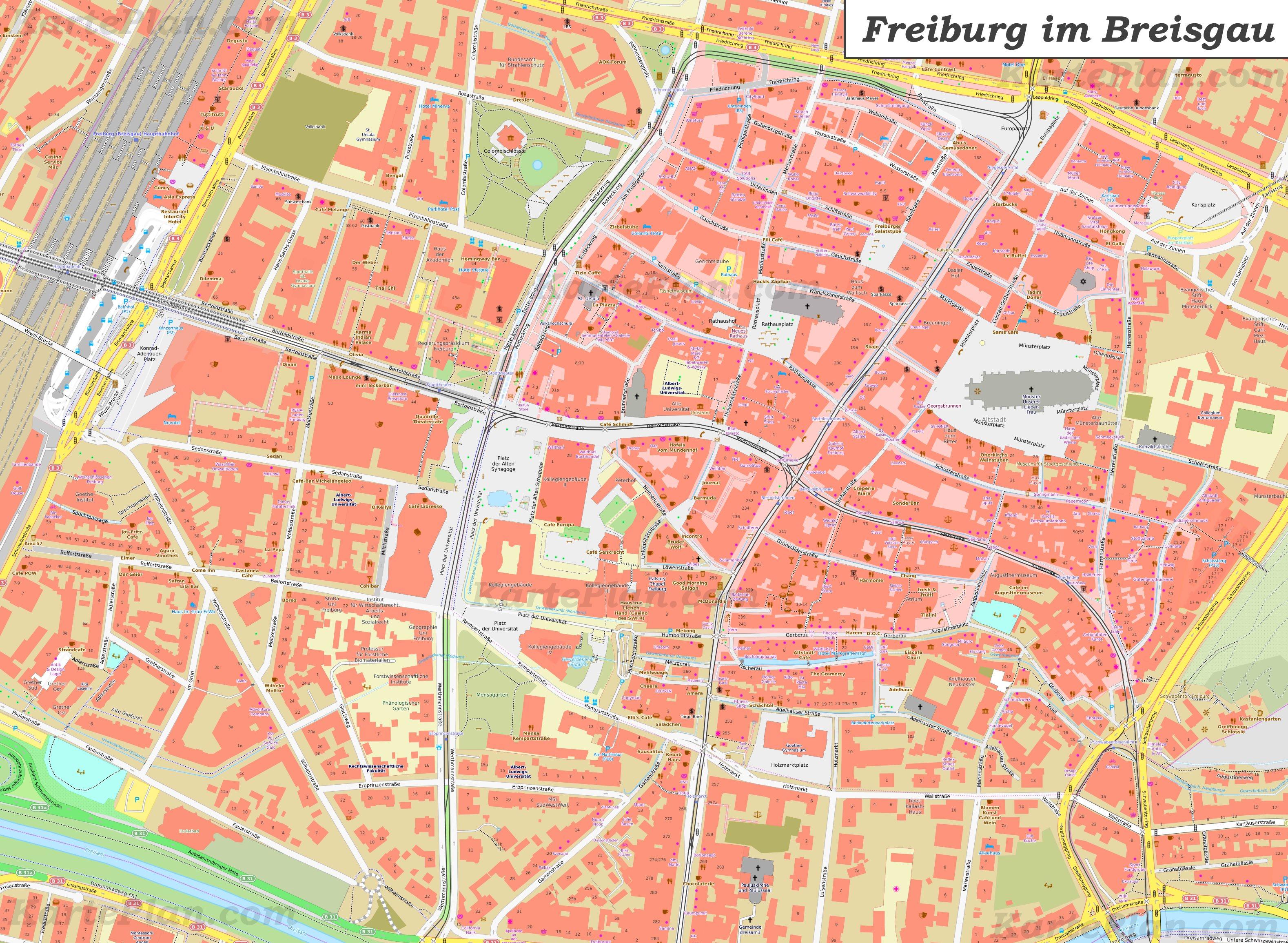 Freiburg Karte.Karte Von Freiburg Im Breisgau Altstadt