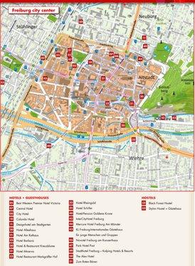 Stadtplan Freiburg im Breisgau mit hotels