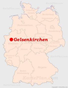 Gelsenkirchen auf der Deutschlandkarte