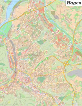 Große detaillierte stadtplan von Hagen