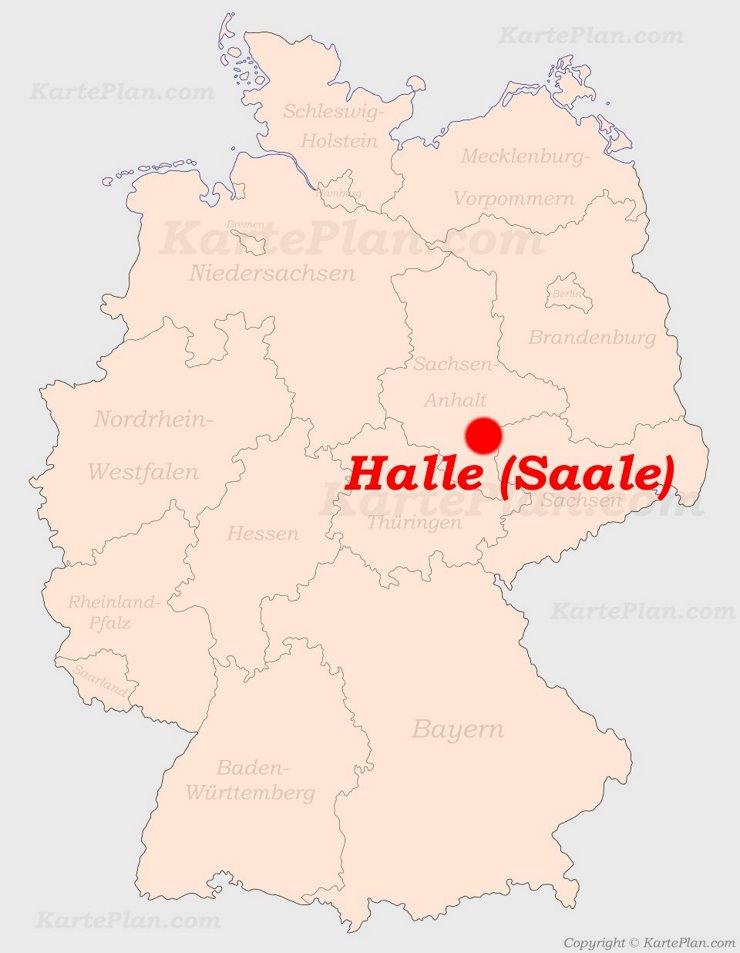 Halle (Saale) auf der Deutschlandkarte