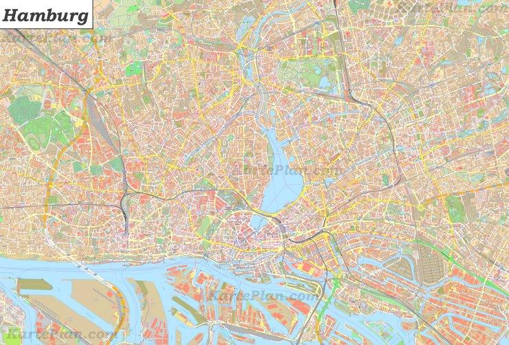 Große detaillierte stadtplan von Hamburg