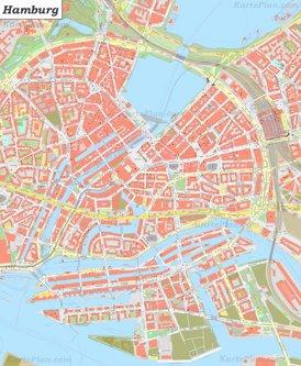 Karte von Hamburg Zentrum