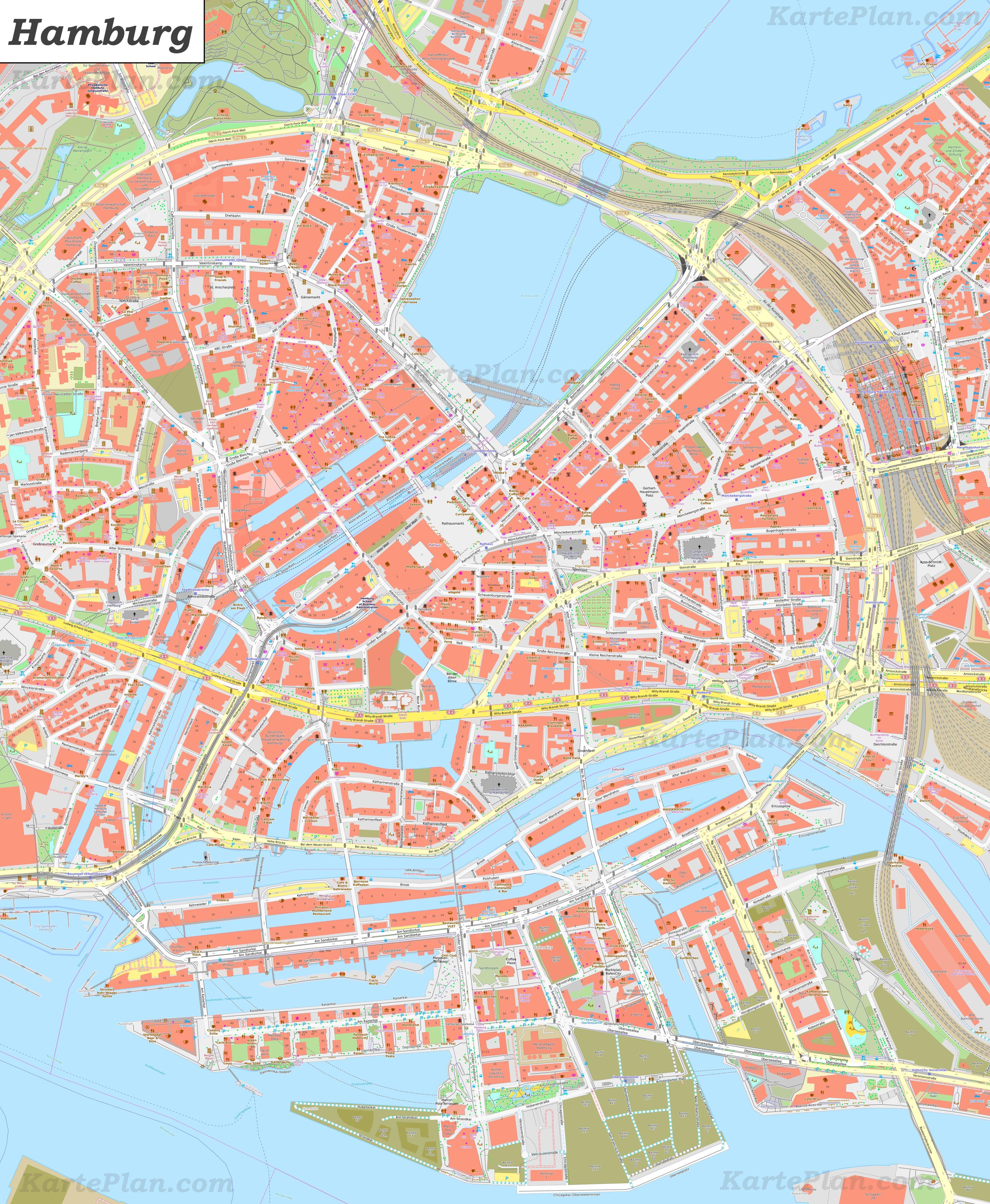 stadtzentrum hamburg karte Karte von Hamburg Zentrum