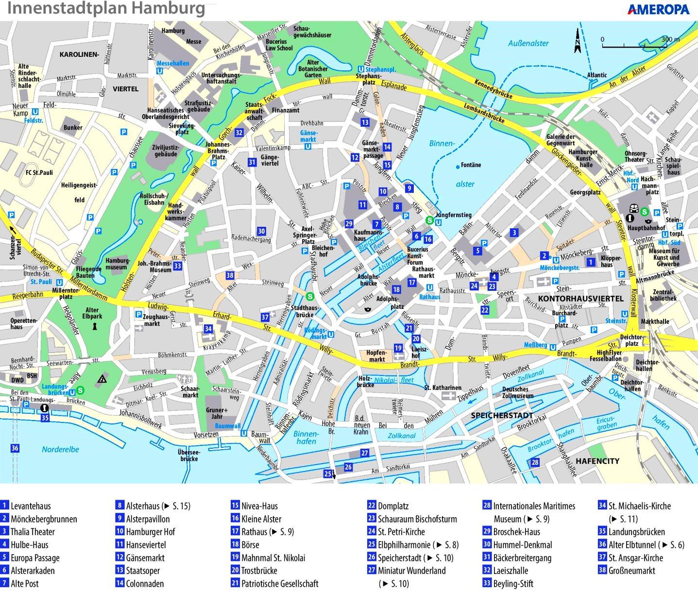 Stadtplan Hamburg Mit Sehenswurdigkeiten