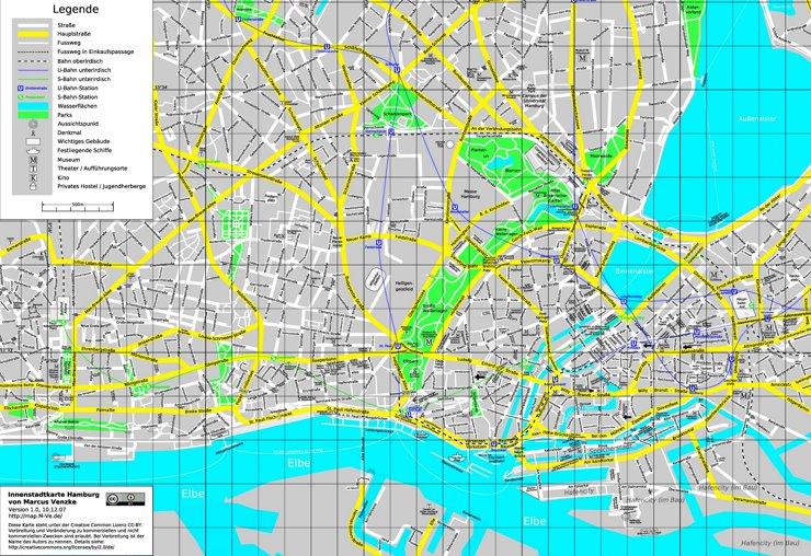 Straßenkarte von Hamburg