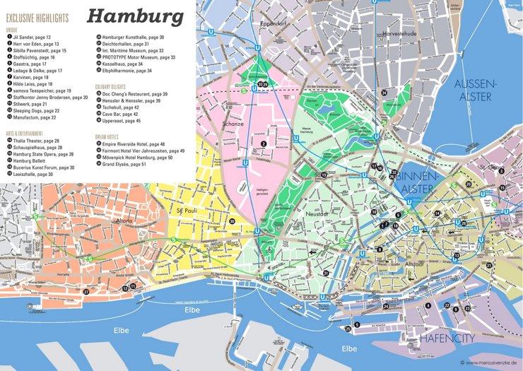 Touristischer stadtplan von Hamburg