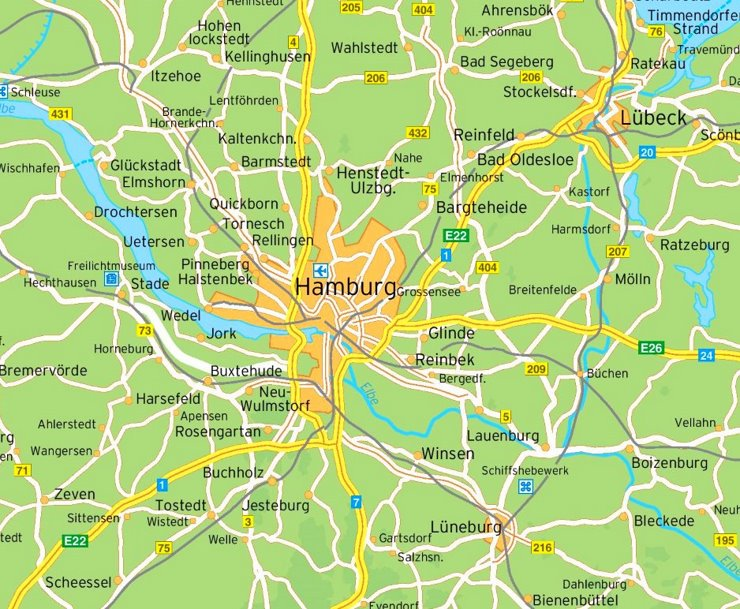 Umgebungskarte Hamburg