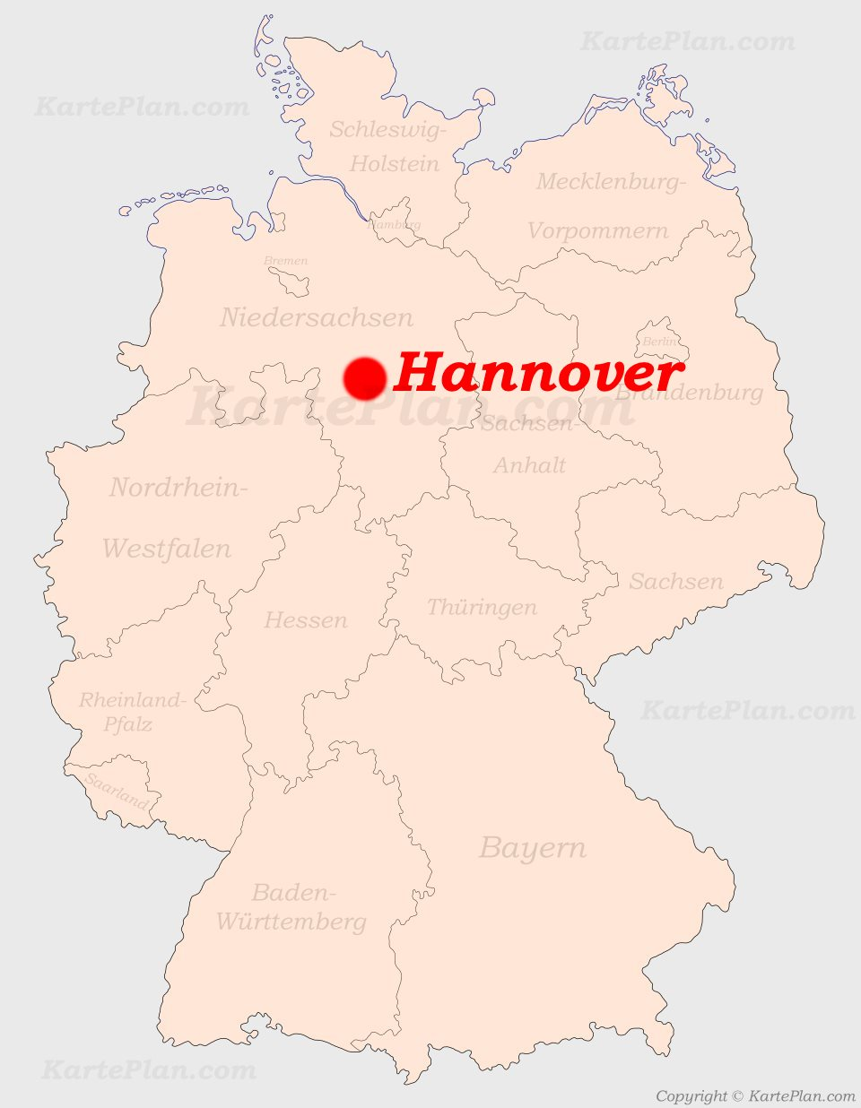 hannover karte deutschland Hannover auf der Deutschlandkarte