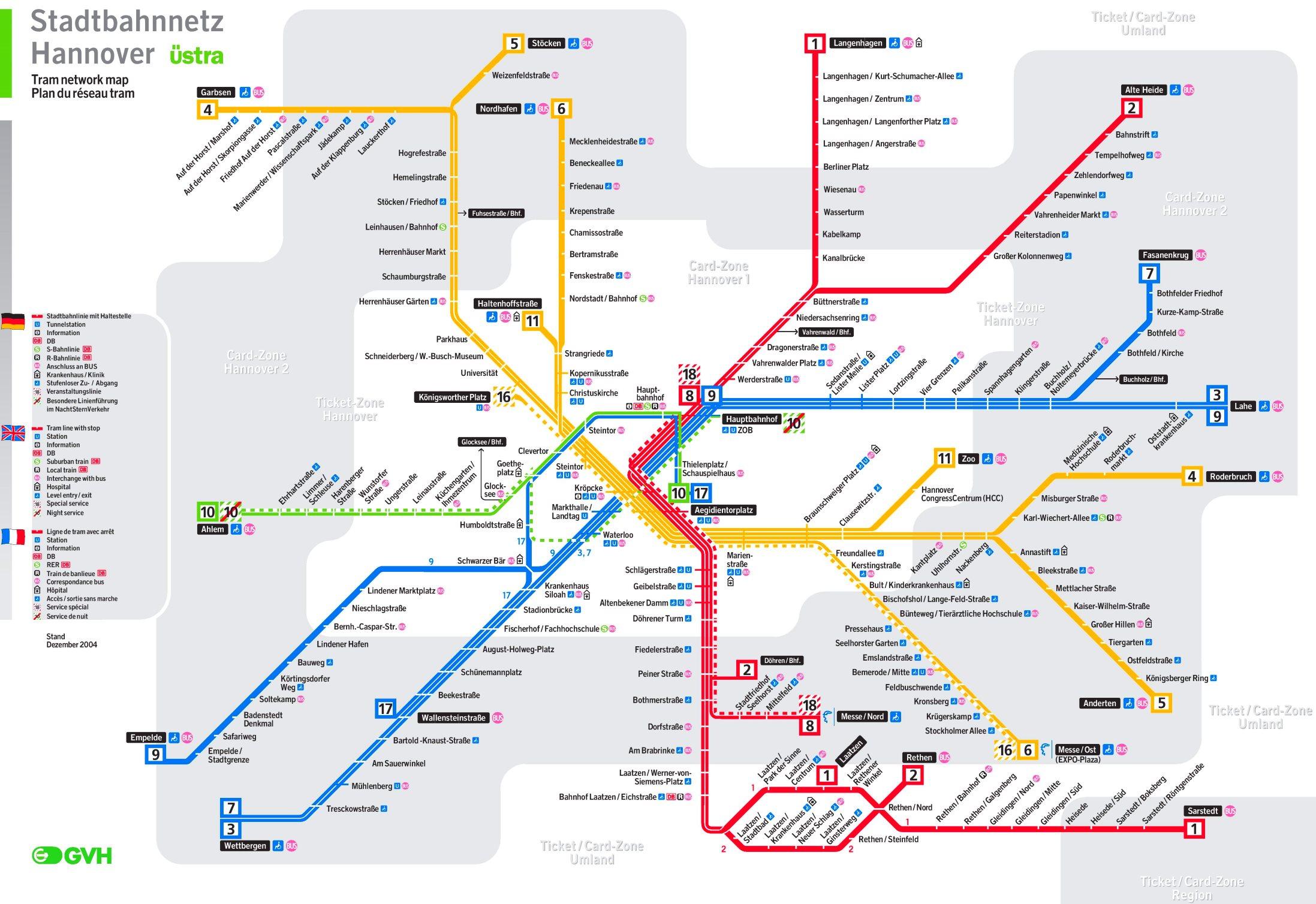 straßenbahnnetz hannover karte Hannover Straßenbahn plan