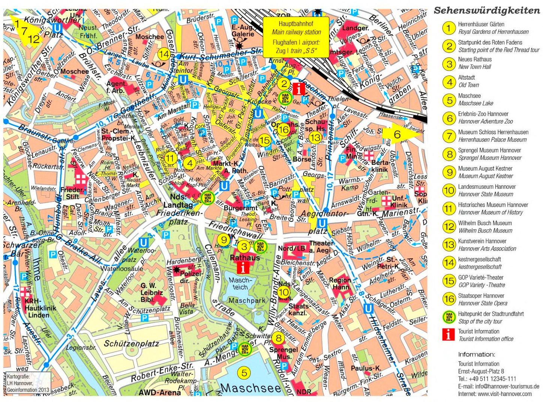 Stadtplan Hannover Mit Sehenswurdigkeiten