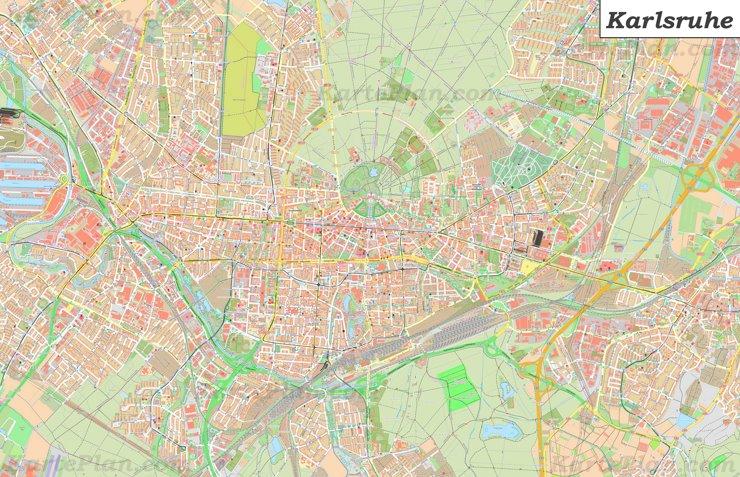 Große detaillierte stadtplan von Karlsruhe
