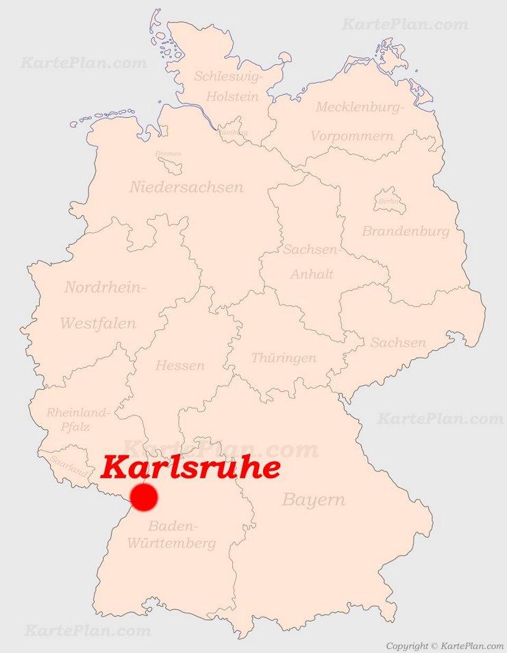 Karlsruhe auf der Deutschlandkarte