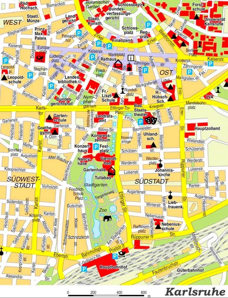 Stadtplan Karlsruhe mit sehenswürdigkeiten
