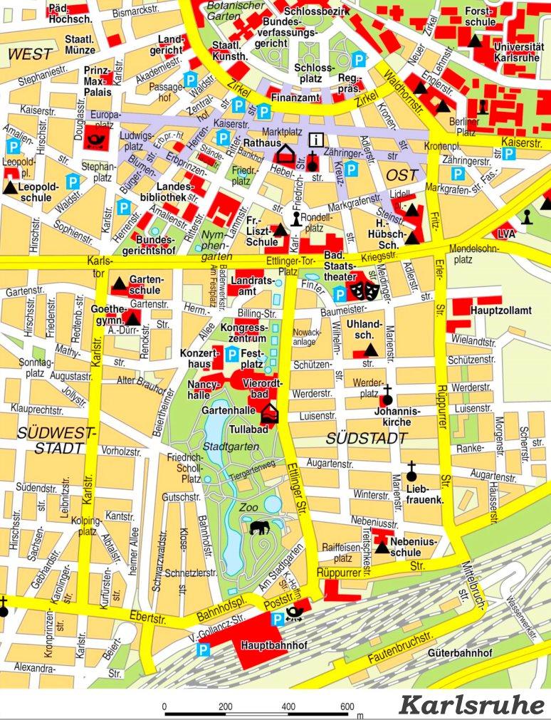 Karte Karlsruhe.Stadtplan Karlsruhe Mit Sehenswürdigkeiten