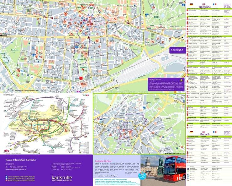 Touristischer stadtplan von Karlsruhe
