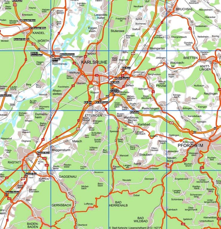 Umgebungskarte Karlsruhe