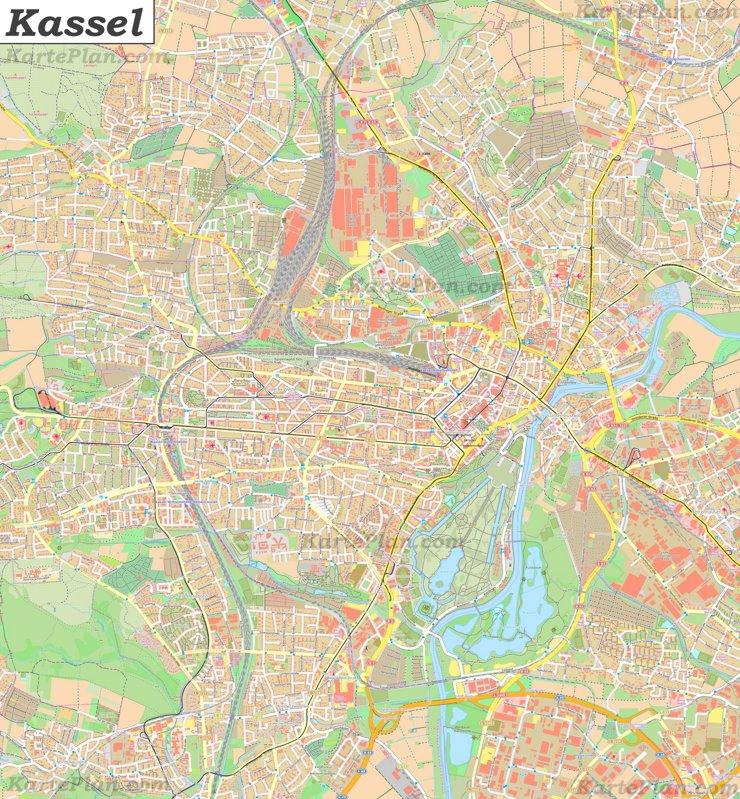 Große detaillierte stadtplan von Kassel