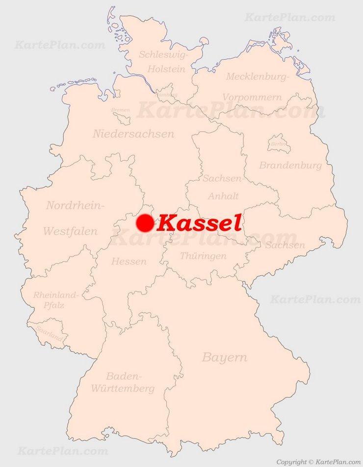 Kassel auf der Deutschlandkarte