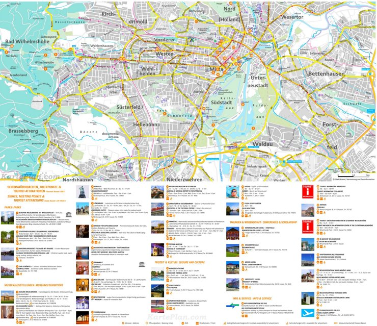 Stadtplan Kassel mit sehenswürdigkeiten