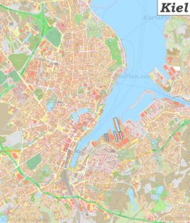 Große detaillierte stadtplan von Kiel