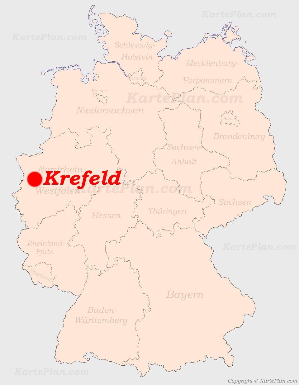 Krefeld Auf Der Deutschlandkarte
